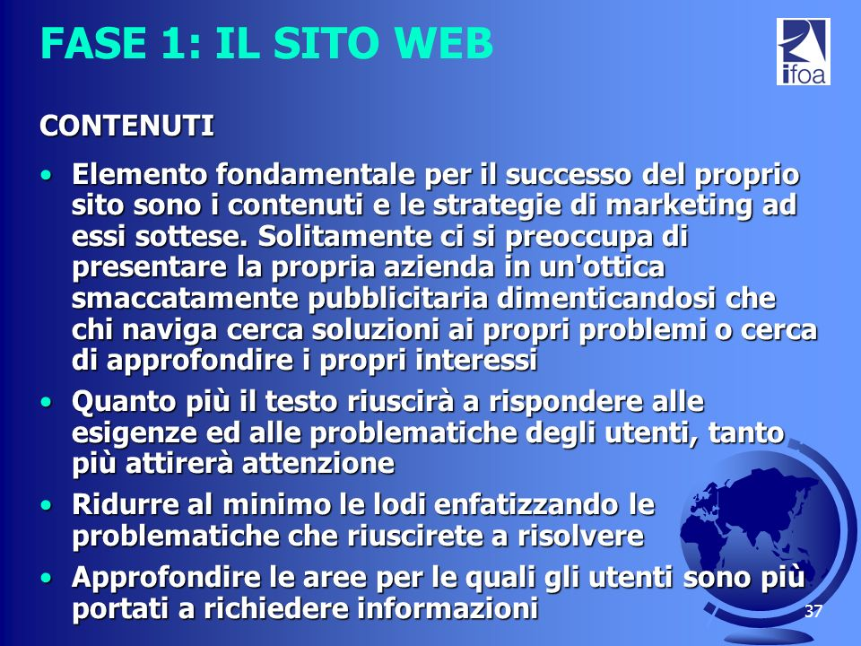 FASE 1: IL SITO WEB CONTENUTI