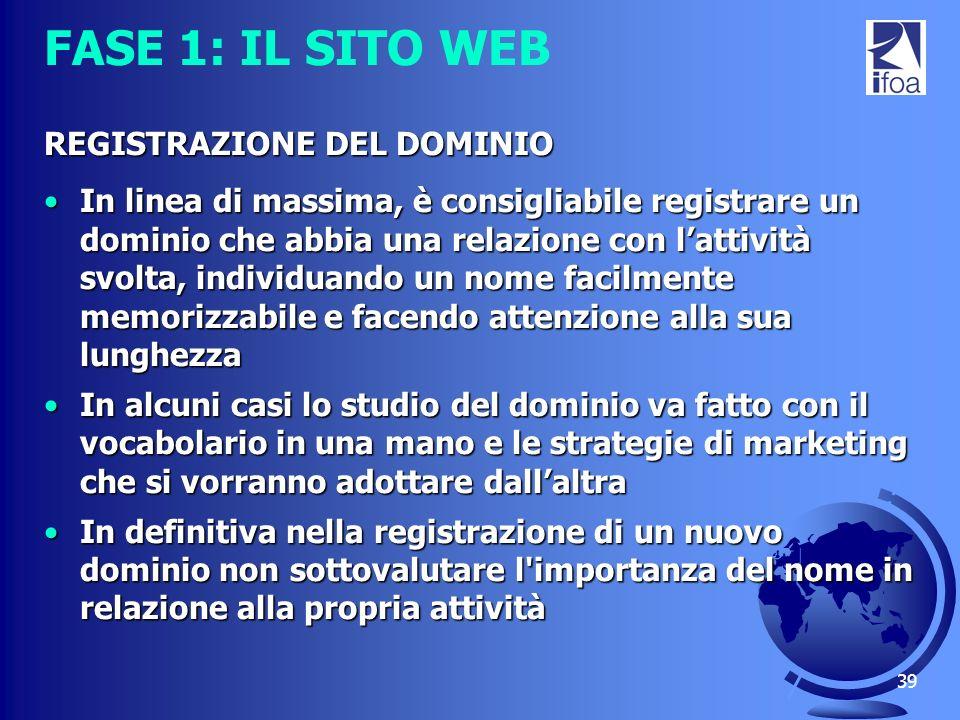 FASE 1: IL SITO WEB REGISTRAZIONE DEL DOMINIO