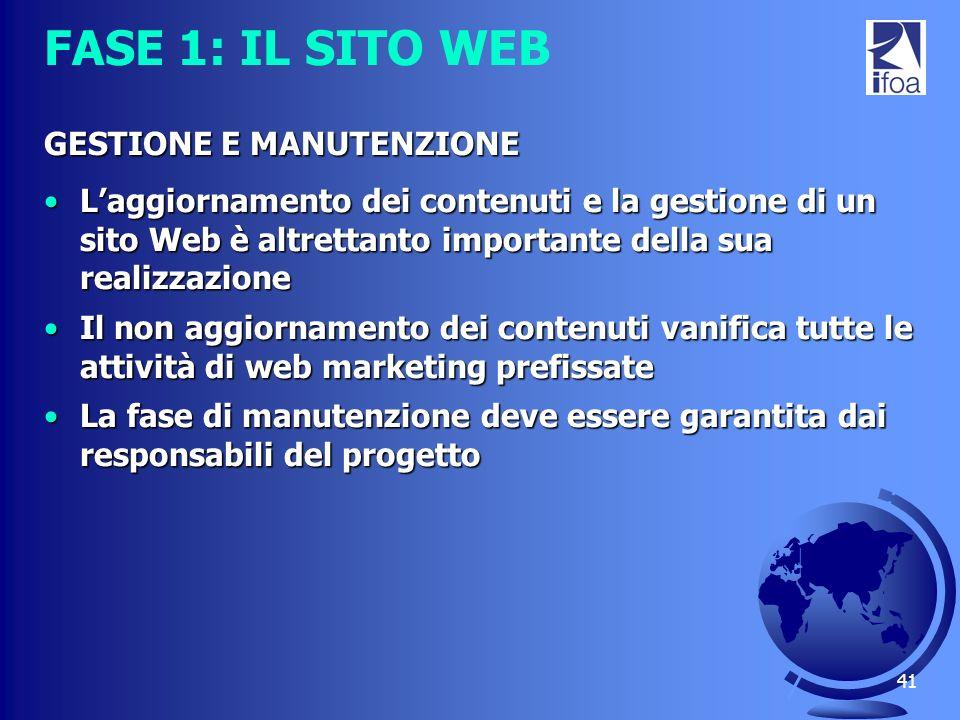 FASE 1: IL SITO WEB GESTIONE E MANUTENZIONE