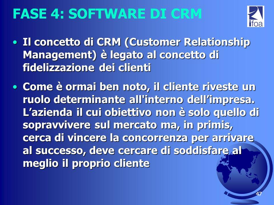 FASE 4: SOFTWARE DI CRM Il concetto di CRM (Customer Relationship Management) è legato al concetto di fidelizzazione dei clienti.