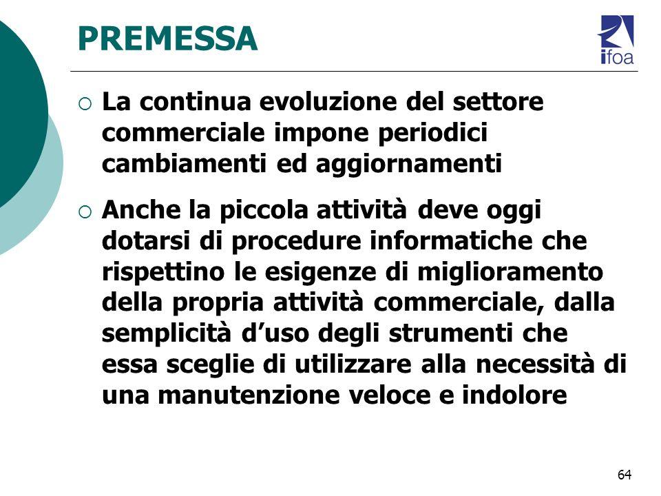 PREMESSA La continua evoluzione del settore commerciale impone periodici cambiamenti ed aggiornamenti.