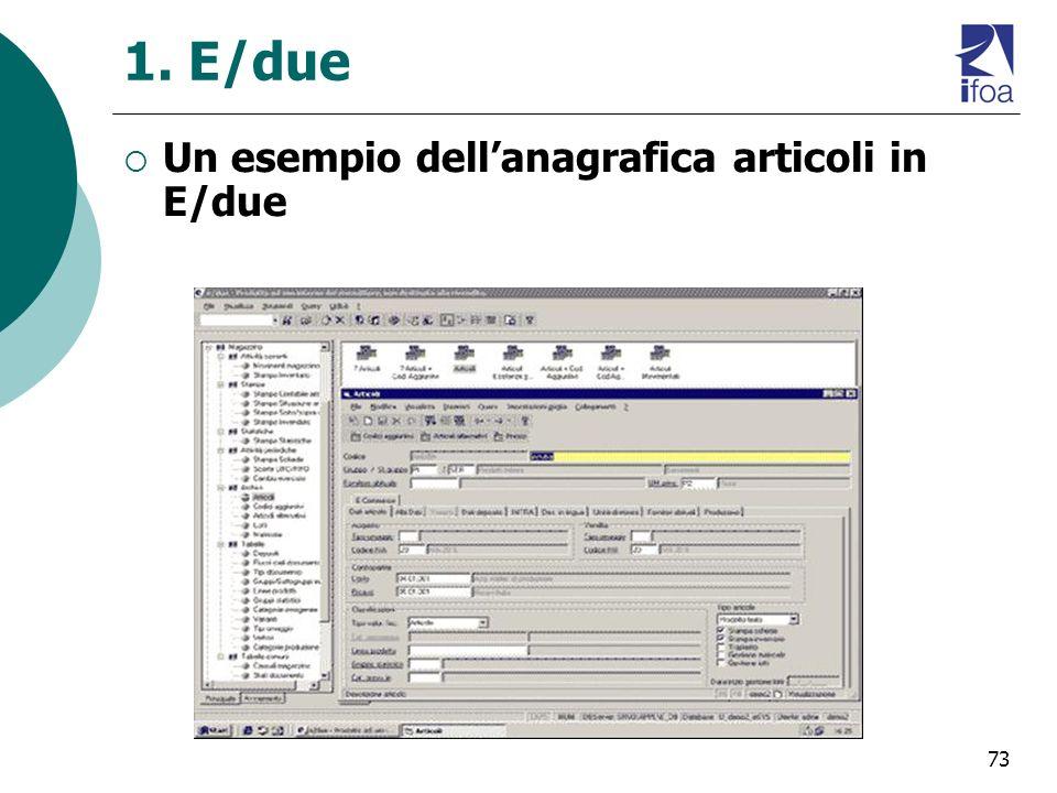 1. E/due Un esempio dell'anagrafica articoli in E/due
