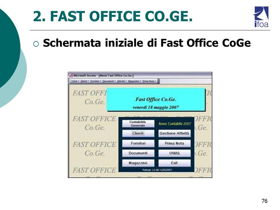 2. FAST OFFICE CO.GE. Schermata iniziale di Fast Office CoGe