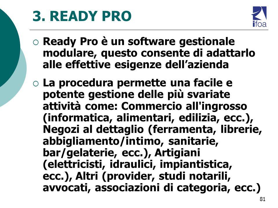 3. READY PRO Ready Pro è un software gestionale modulare, questo consente di adattarlo alle effettive esigenze dell'azienda.
