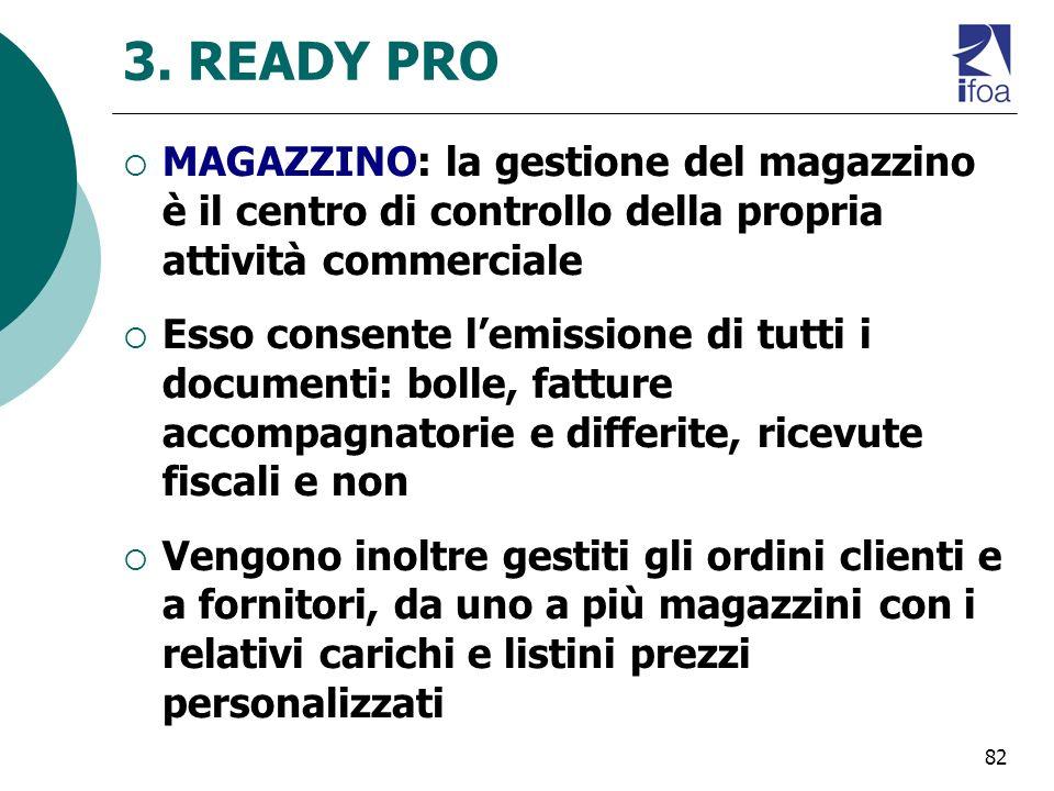 3. READY PRO MAGAZZINO: la gestione del magazzino è il centro di controllo della propria attività commerciale.