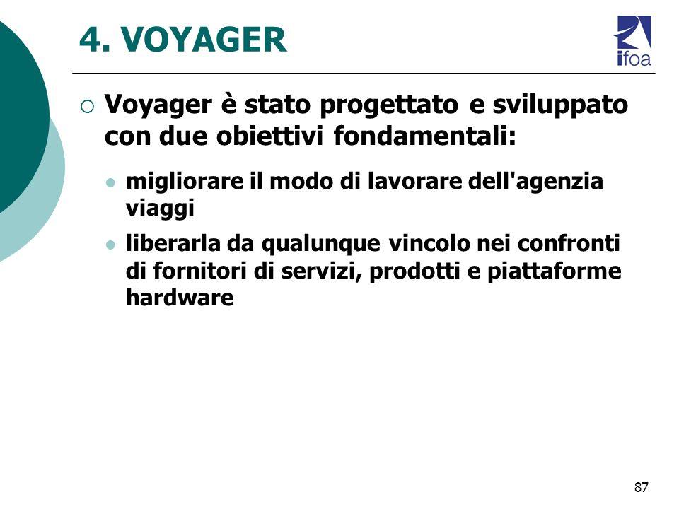 4. VOYAGER Voyager è stato progettato e sviluppato con due obiettivi fondamentali: migliorare il modo di lavorare dell agenzia viaggi.