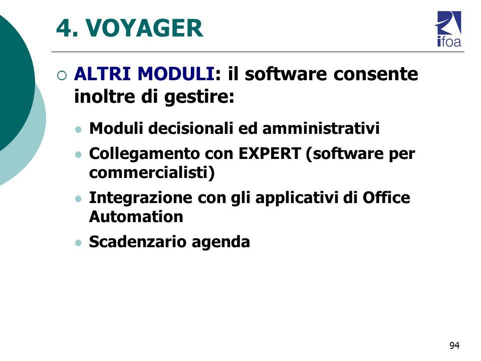 4. VOYAGER ALTRI MODULI: il software consente inoltre di gestire: