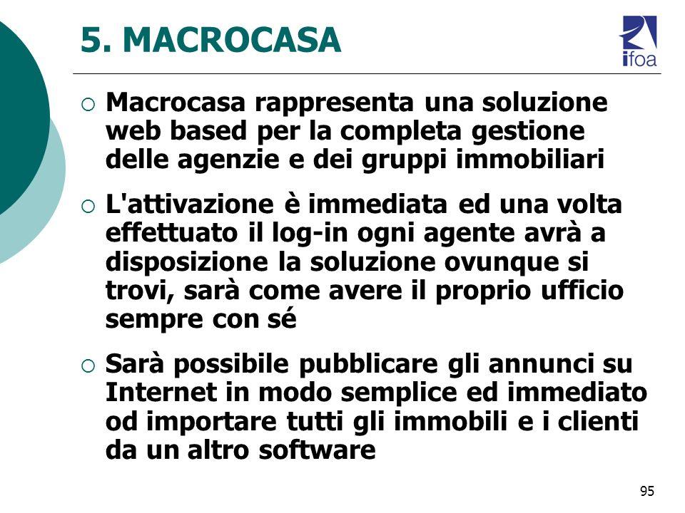 5. MACROCASA Macrocasa rappresenta una soluzione web based per la completa gestione delle agenzie e dei gruppi immobiliari.