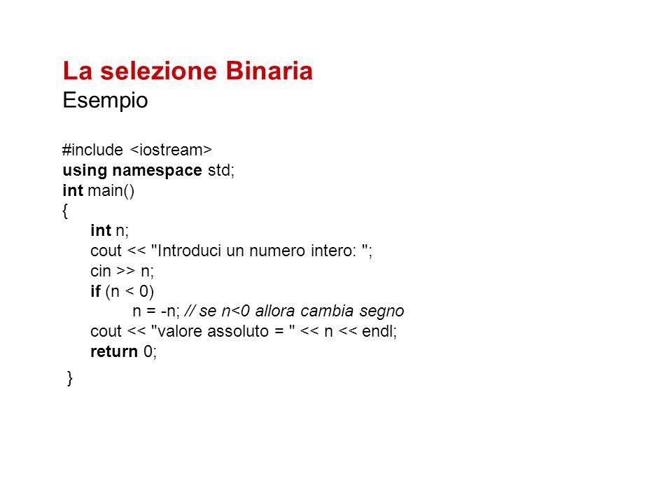 La selezione Binaria Esempio #include <iostream>