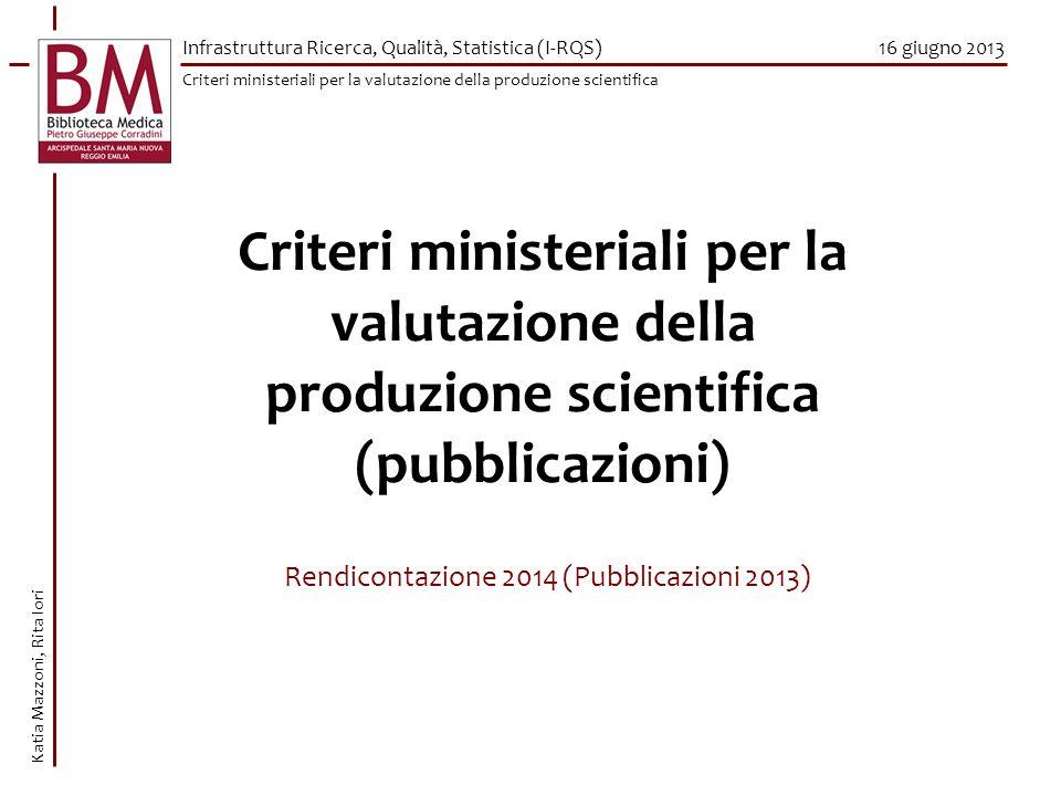 Rendicontazione 2014 (Pubblicazioni 2013)