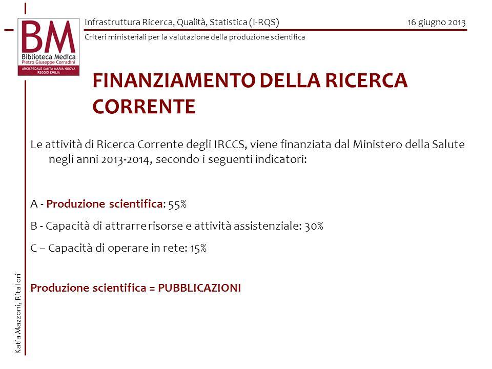 FINANZIAMENTO DELLA RICERCA CORRENTE