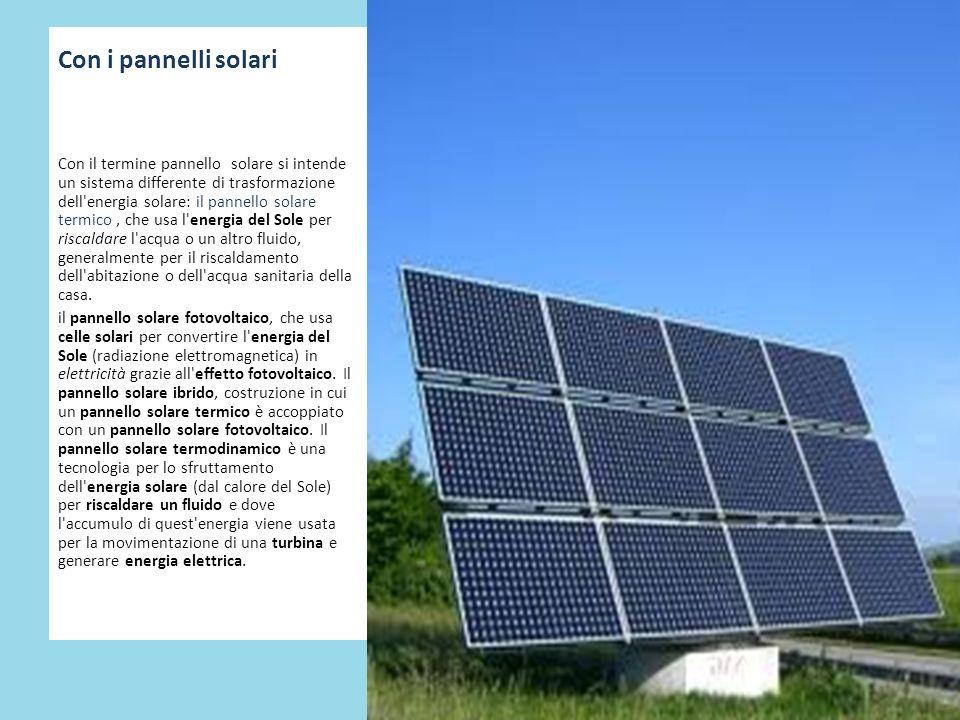 Con i pannelli solari