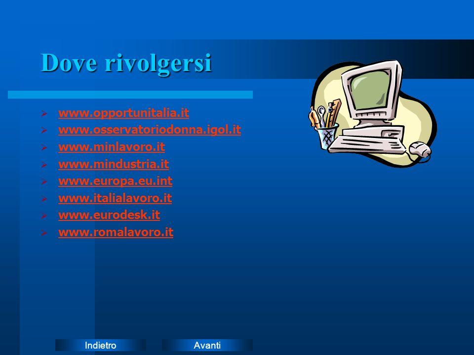 Dove rivolgersi www.opportunitalia.it www.osservatoriodonna.igol.it