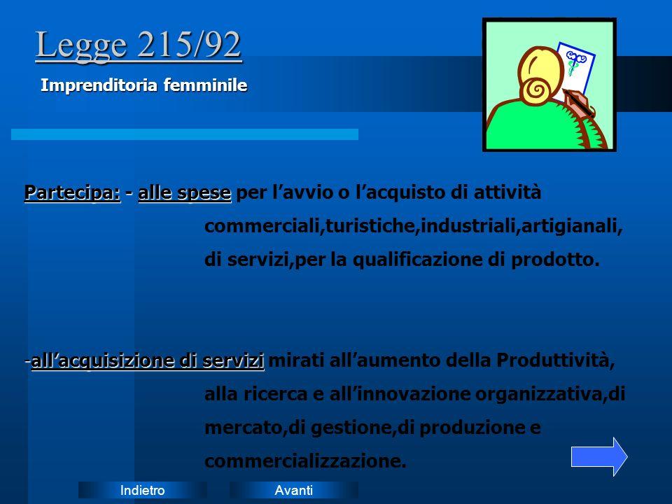 Legge 215/92 Imprenditoria femminile. Partecipa: - alle spese per l'avvio o l'acquisto di attività.