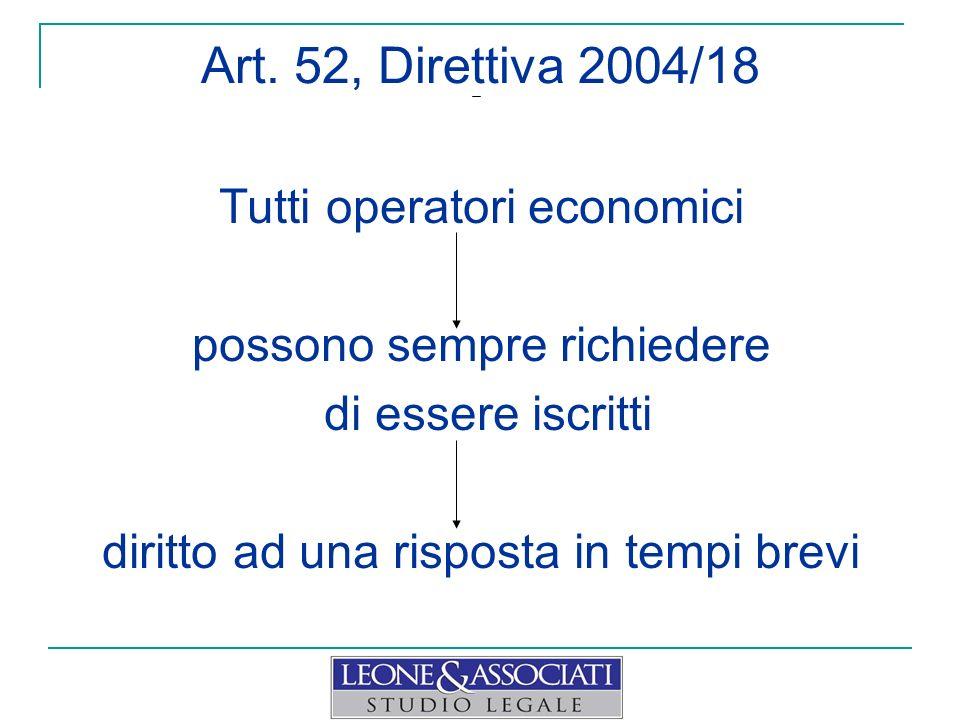Art. 52, Direttiva 2004/18 Tutti operatori economici