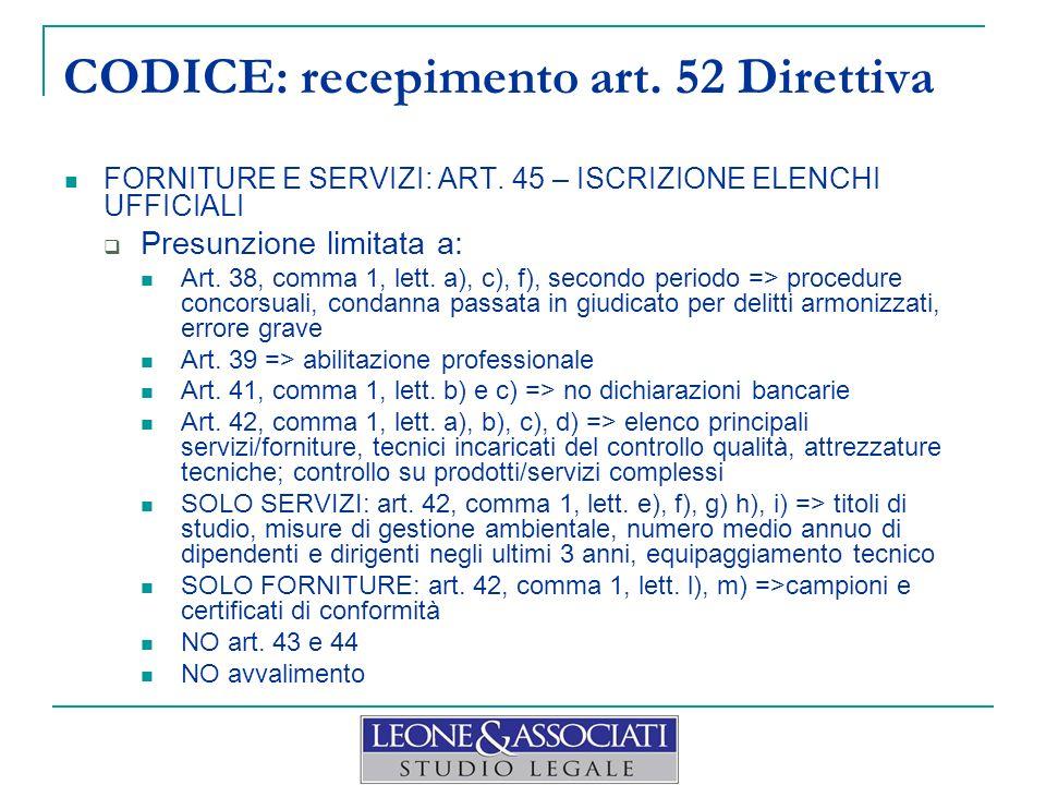 CODICE: recepimento art. 52 Direttiva