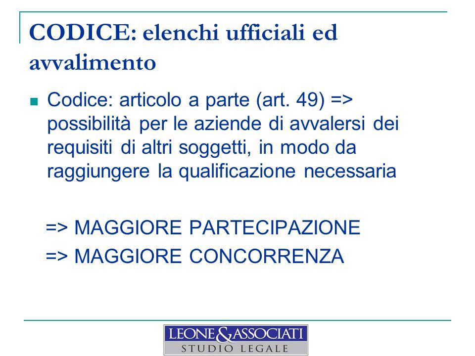 CODICE: elenchi ufficiali ed avvalimento