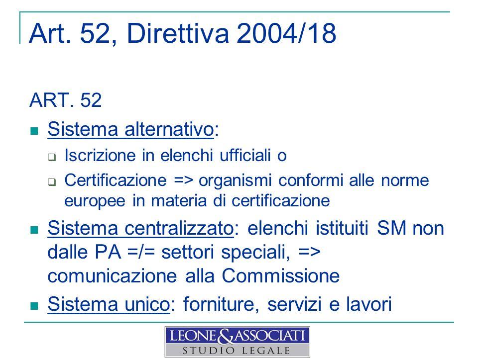 Art. 52, Direttiva 2004/18 ART. 52 Sistema alternativo: