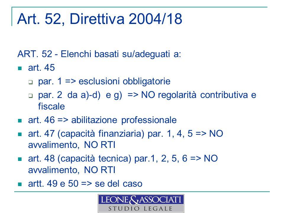 Art. 52, Direttiva 2004/18 ART. 52 - Elenchi basati su/adeguati a: