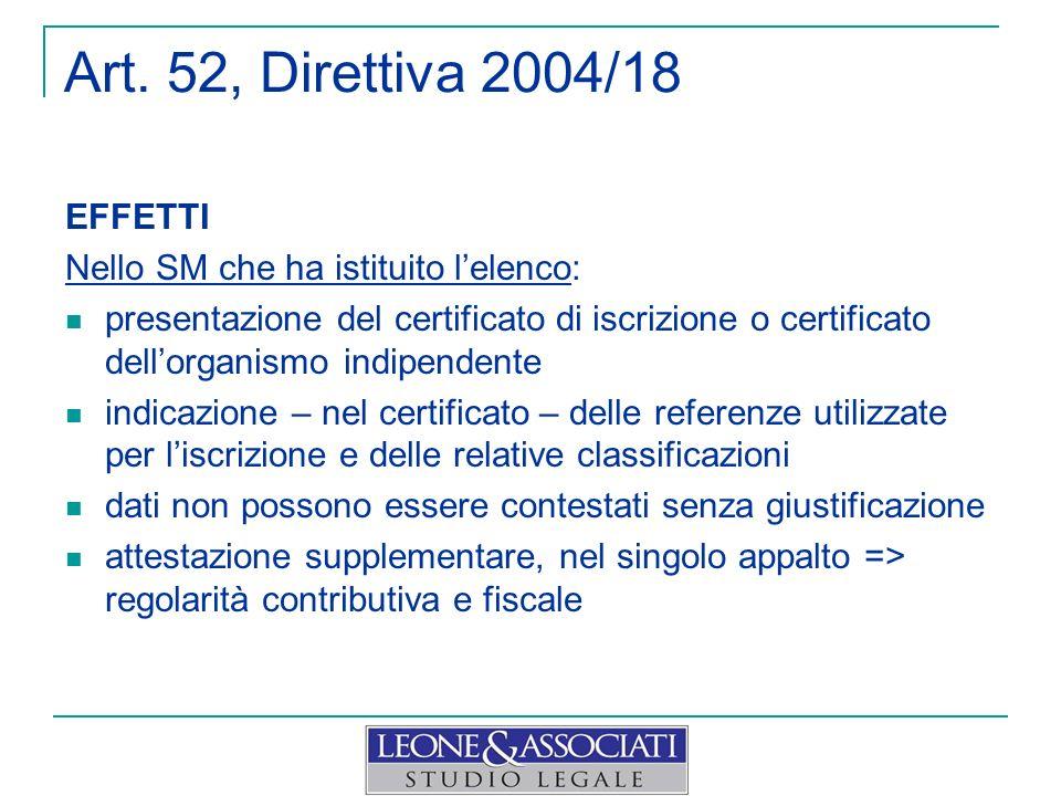 Art. 52, Direttiva 2004/18 EFFETTI Nello SM che ha istituito l'elenco: