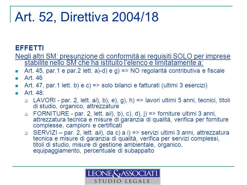 Art. 52, Direttiva 2004/18 EFFETTI