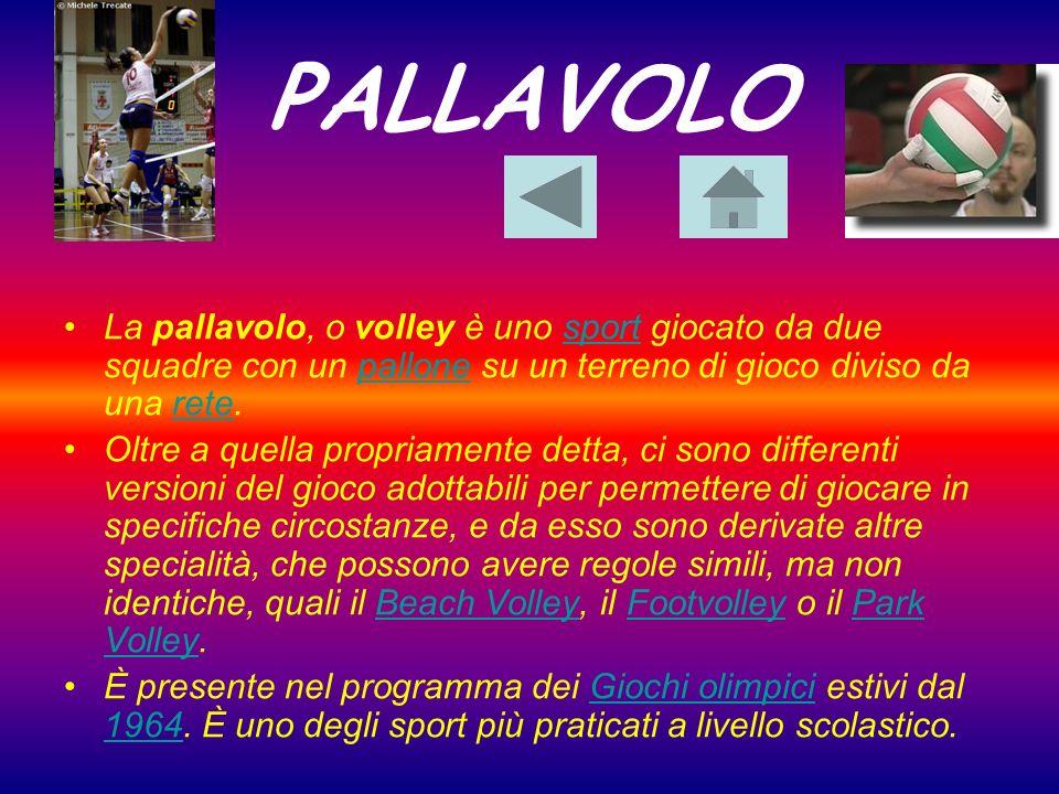 PALLAVOLOLa pallavolo, o volley è uno sport giocato da due squadre con un pallone su un terreno di gioco diviso da una rete.