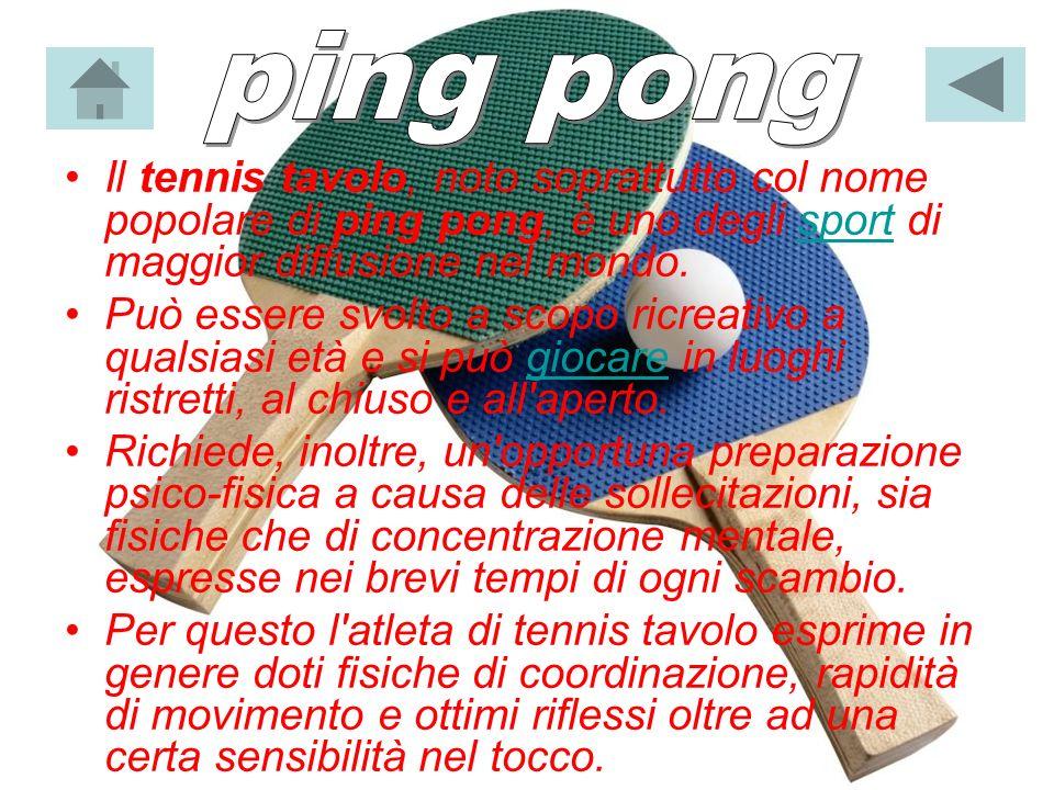 ping pongIl tennis tavolo, noto soprattutto col nome popolare di ping pong, è uno degli sport di maggior diffusione nel mondo.