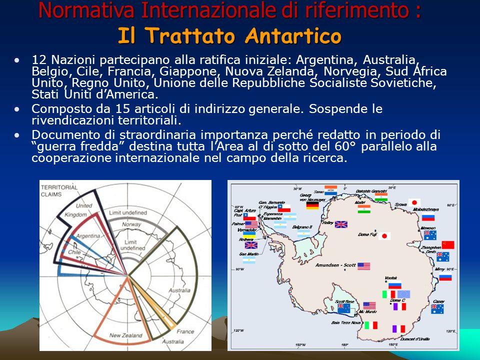 Normativa Internazionale di riferimento : Il Trattato Antartico