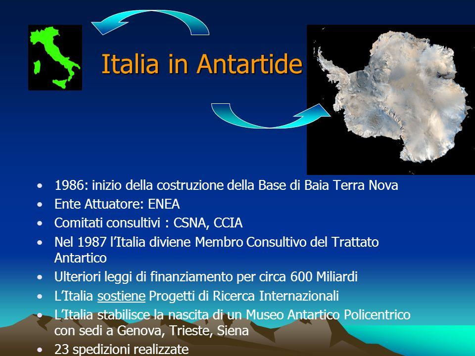 Italia in Antartide 1986: inizio della costruzione della Base di Baia Terra Nova. Ente Attuatore: ENEA.