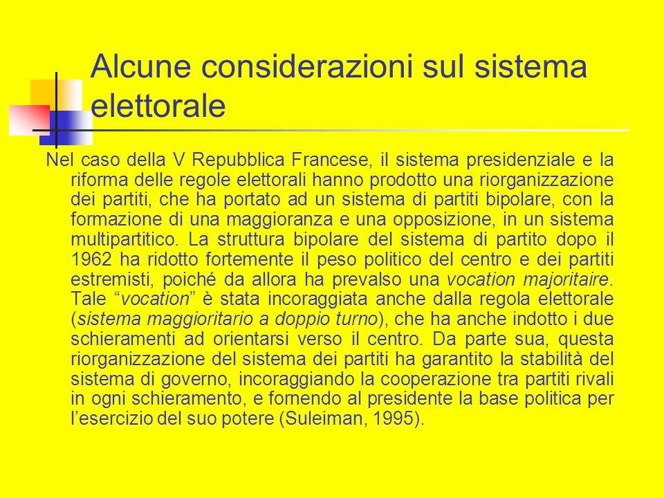 Alcune considerazioni sul sistema elettorale