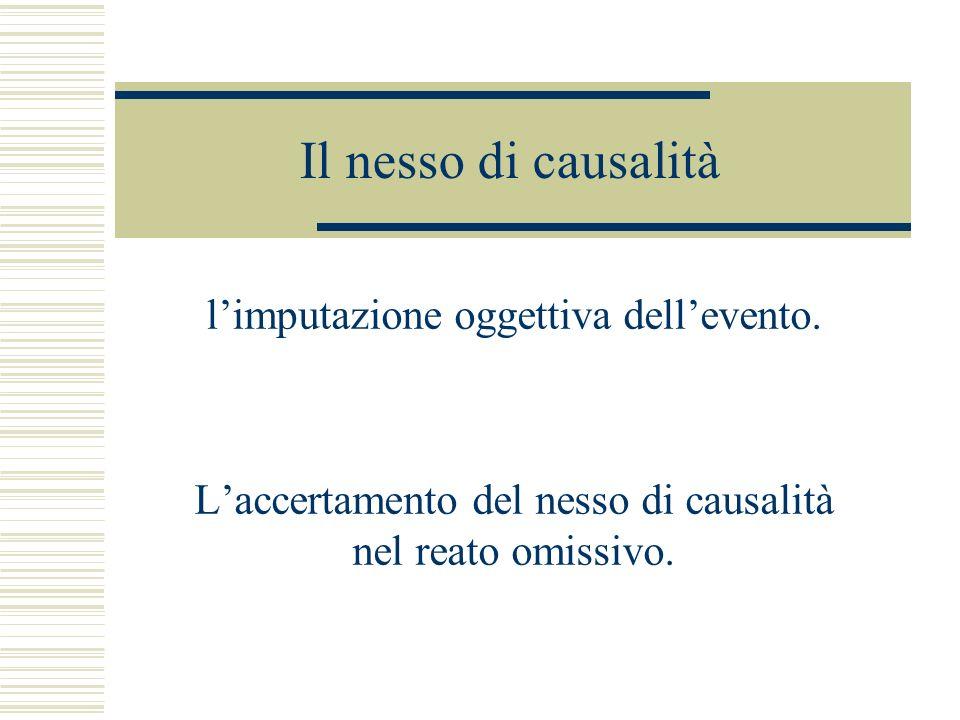 Il nesso di causalità l'imputazione oggettiva dell'evento.