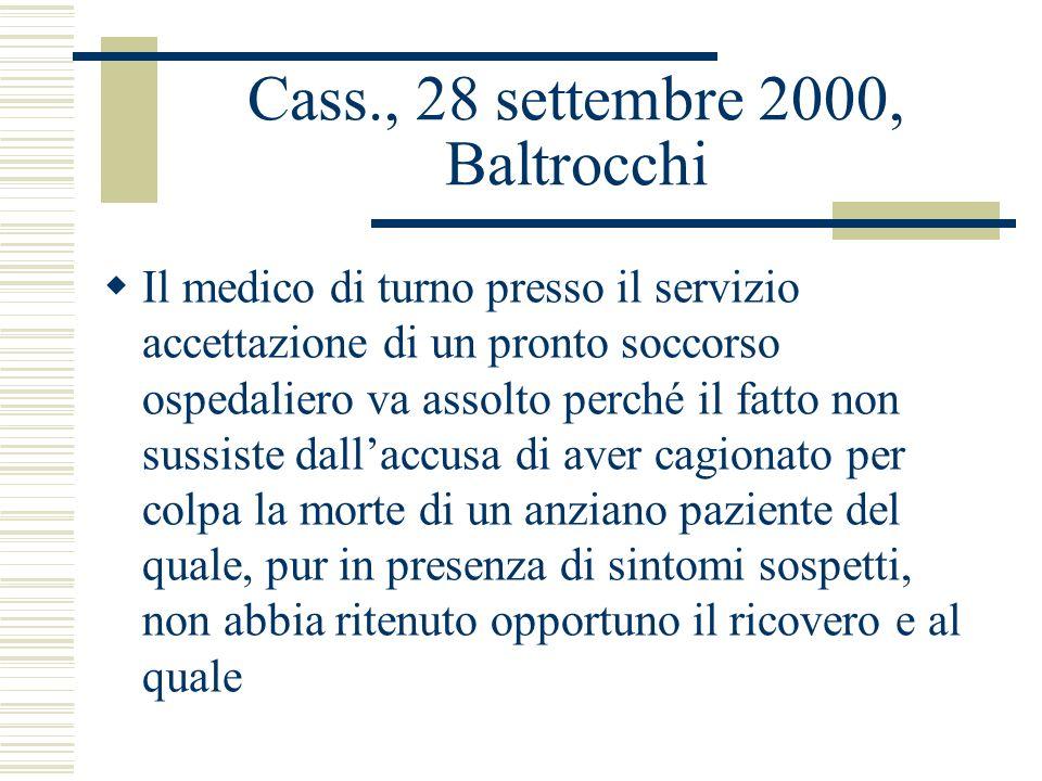 Cass., 28 settembre 2000, Baltrocchi