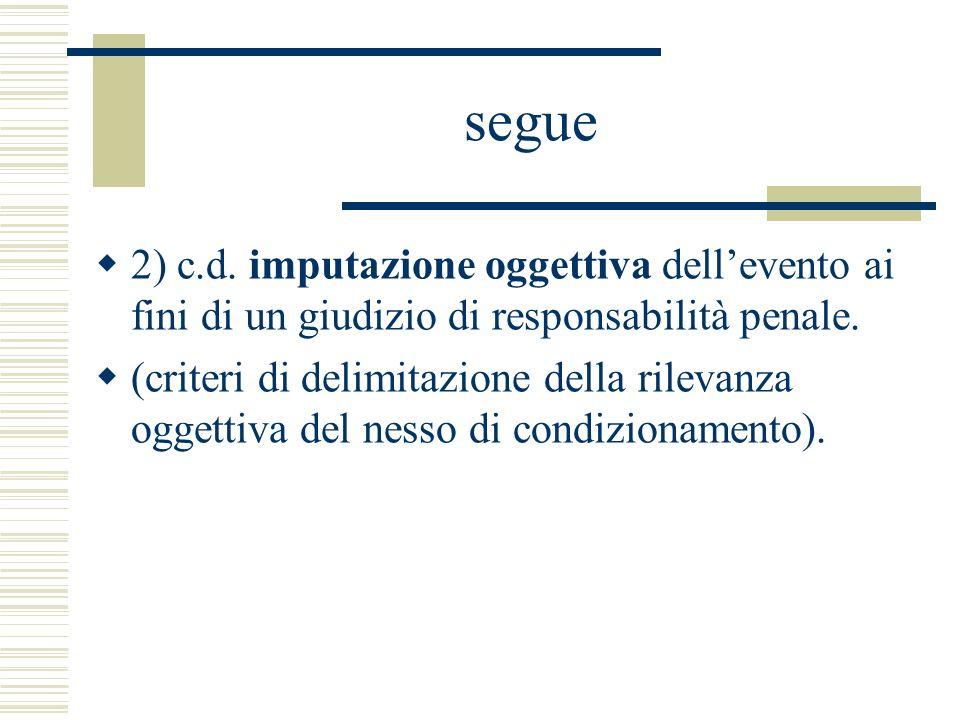 segue 2) c.d. imputazione oggettiva dell'evento ai fini di un giudizio di responsabilità penale.