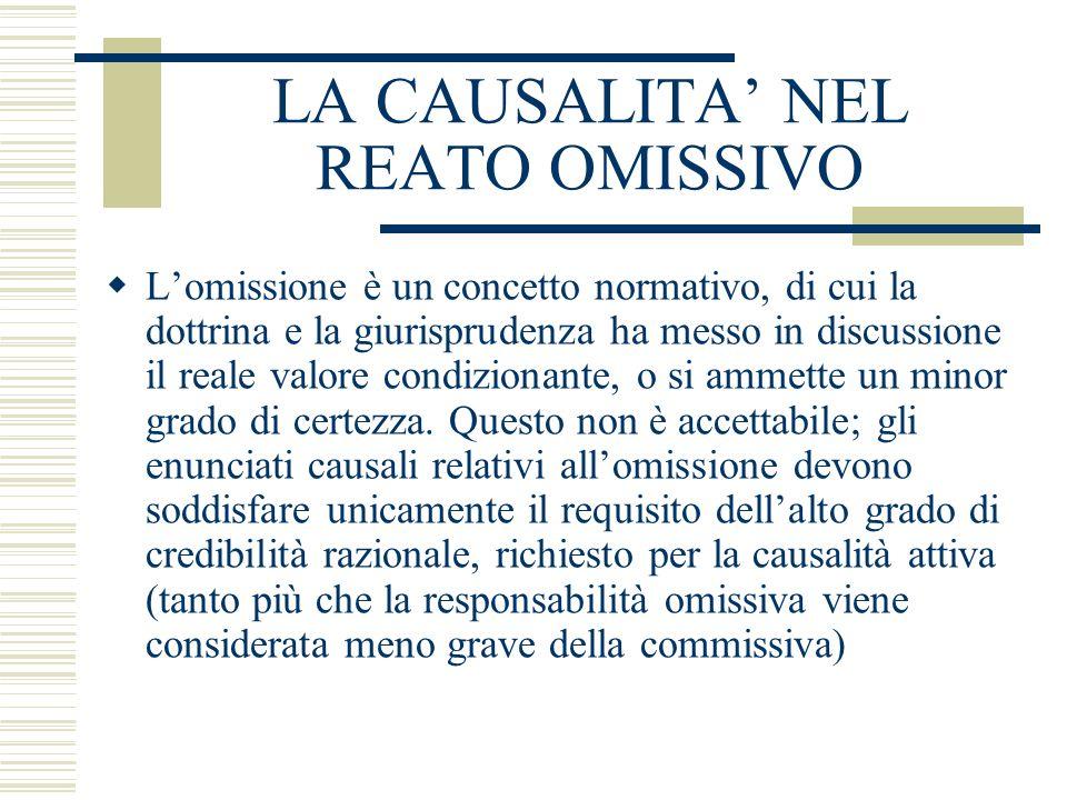 LA CAUSALITA' NEL REATO OMISSIVO