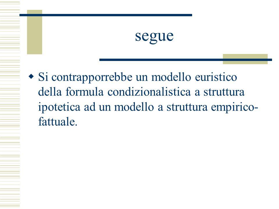 segue Si contrapporrebbe un modello euristico della formula condizionalistica a struttura ipotetica ad un modello a struttura empirico-fattuale.