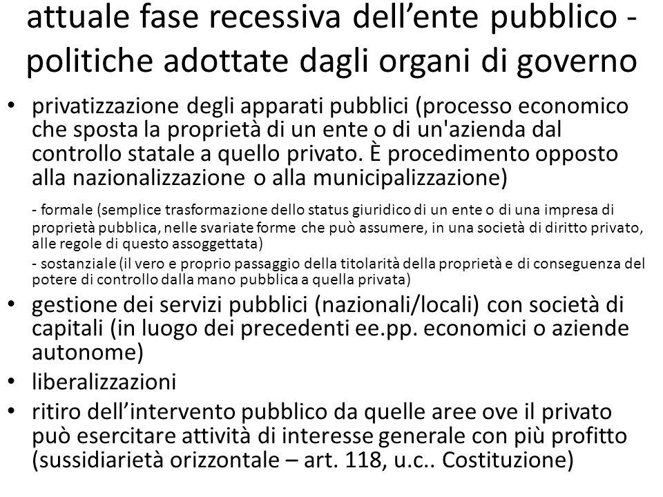 attuale fase recessiva dell'ente pubblico - politiche adottate dagli organi di governo