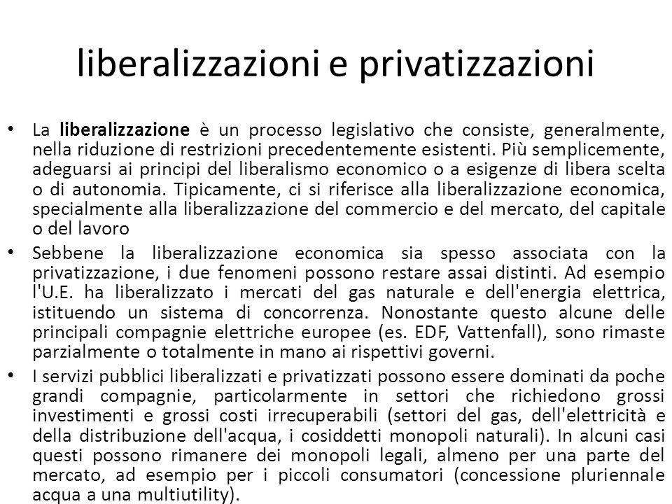 liberalizzazioni e privatizzazioni