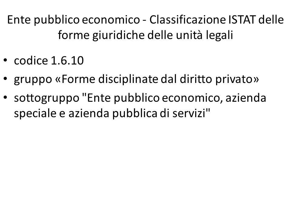 Ente pubblico economico - Classificazione ISTAT delle forme giuridiche delle unità legali