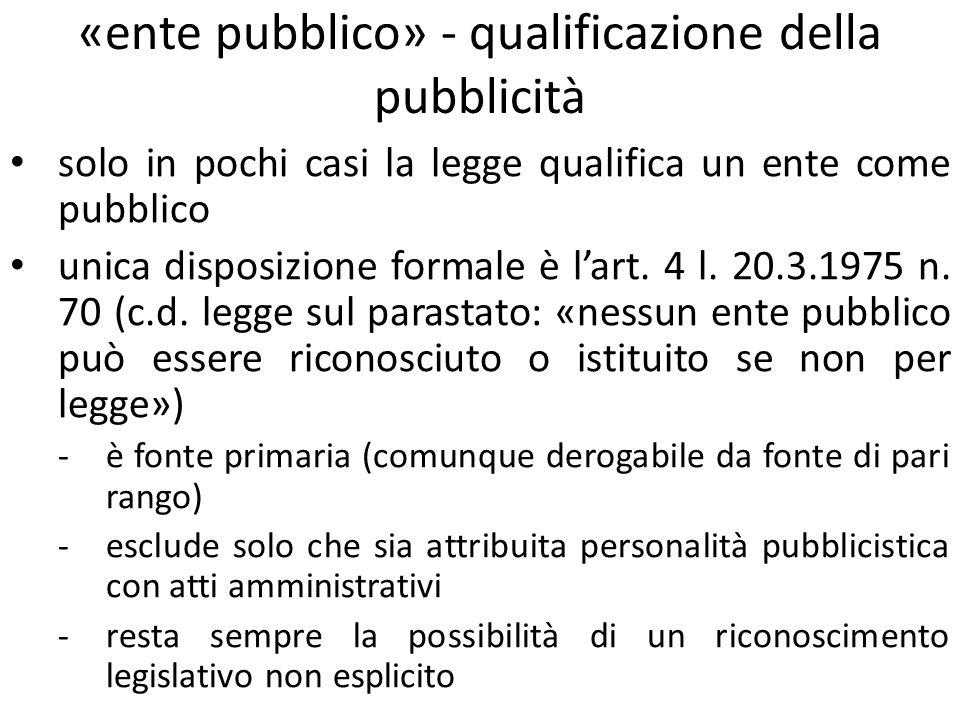 «ente pubblico» - qualificazione della pubblicità