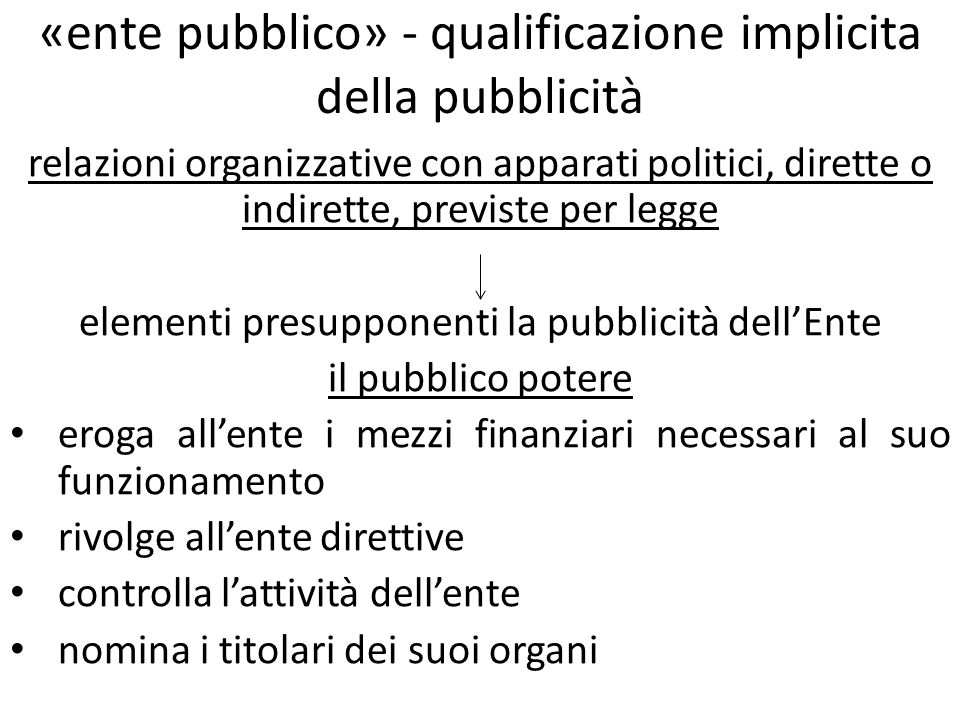 «ente pubblico» - qualificazione implicita della pubblicità