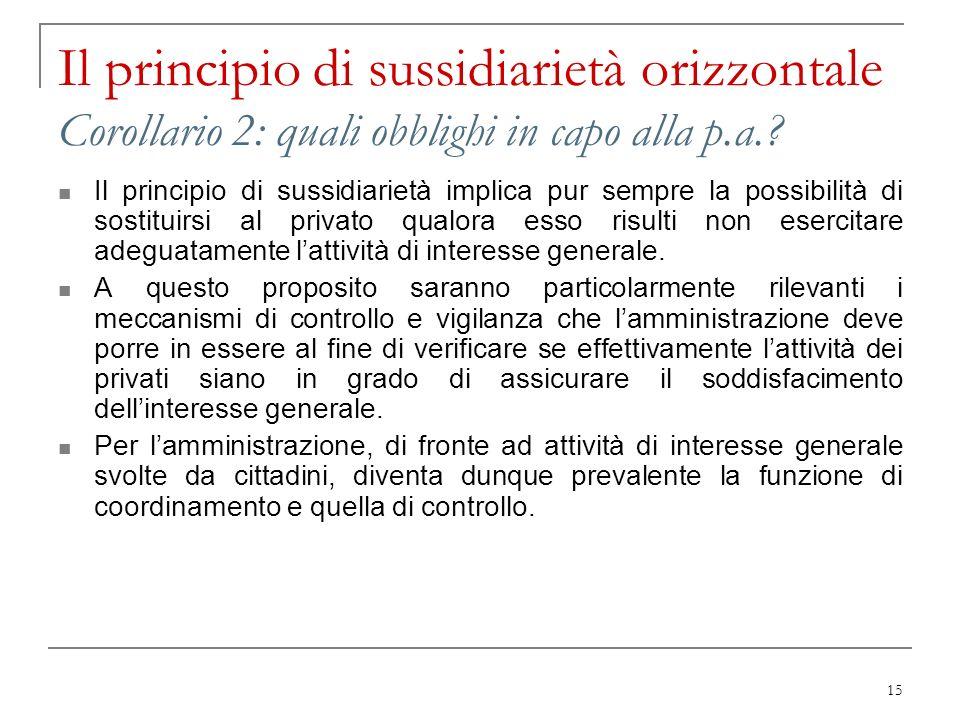 Il principio di sussidiarietà orizzontale Corollario 2: quali obblighi in capo alla p.a.