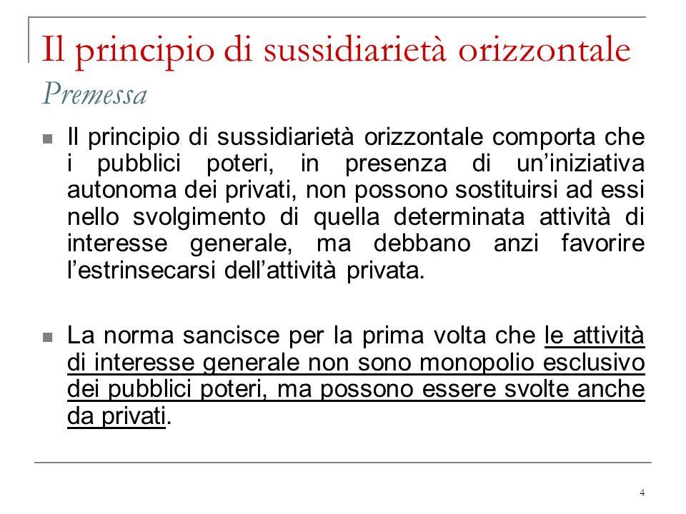 Il principio di sussidiarietà orizzontale Premessa