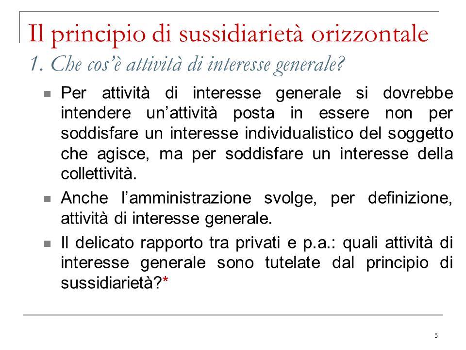 Il principio di sussidiarietà orizzontale 1