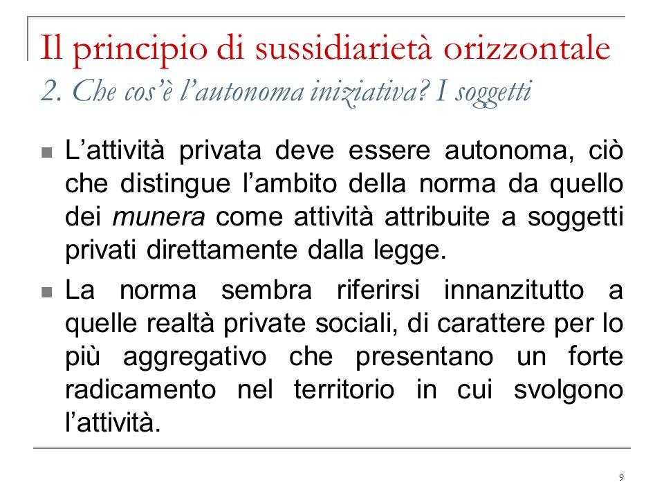 Il principio di sussidiarietà orizzontale 2