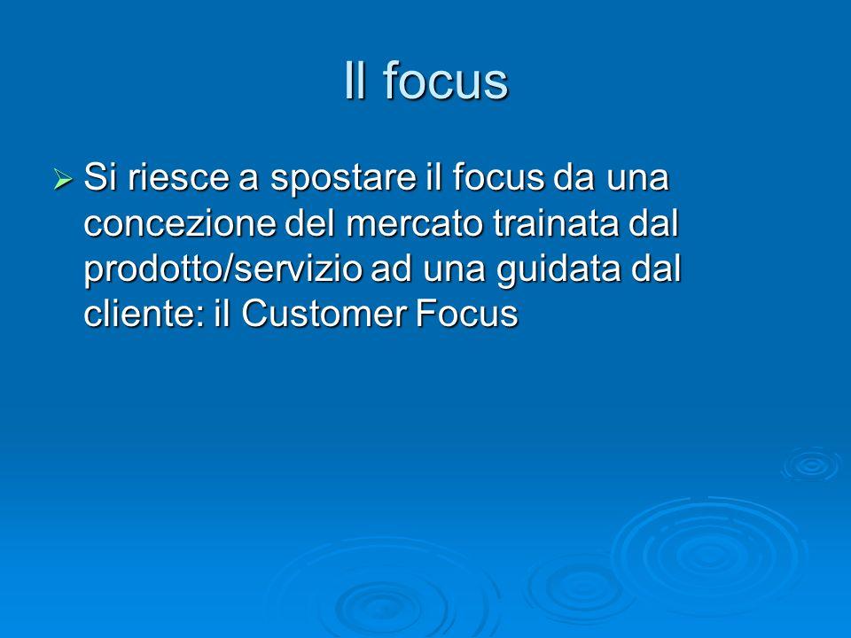 Il focus Si riesce a spostare il focus da una concezione del mercato trainata dal prodotto/servizio ad una guidata dal cliente: il Customer Focus.