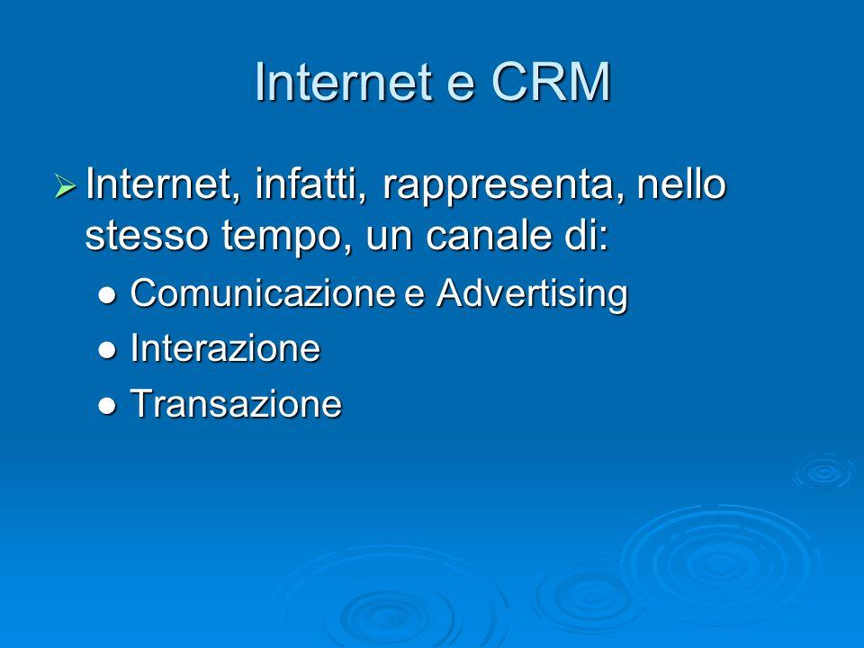 Internet e CRM Internet, infatti, rappresenta, nello stesso tempo, un canale di: ● Comunicazione e Advertising.