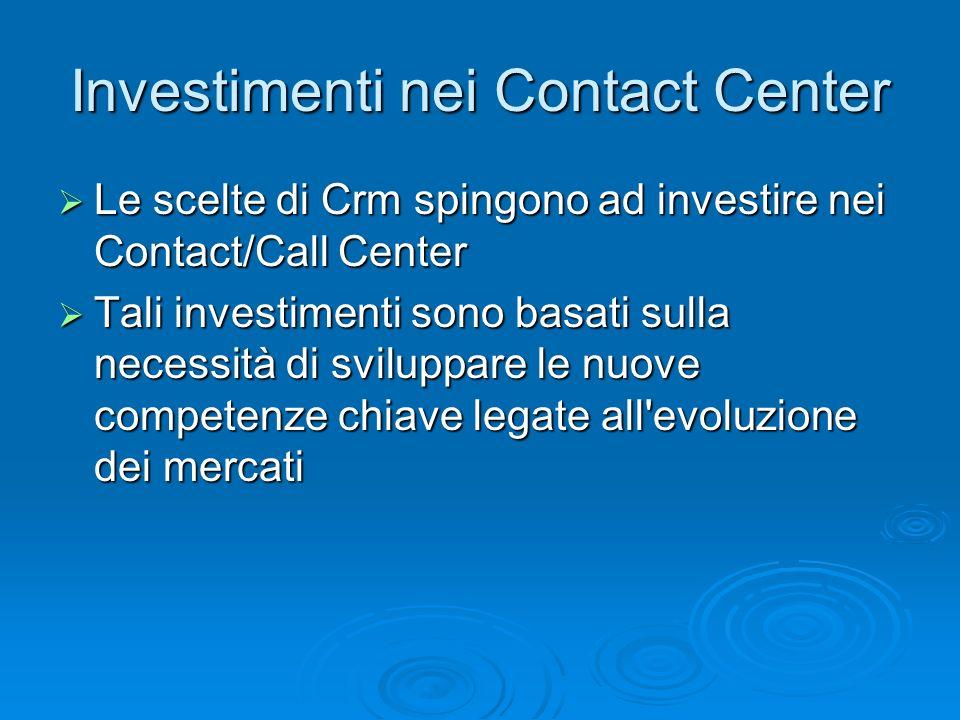 Investimenti nei Contact Center