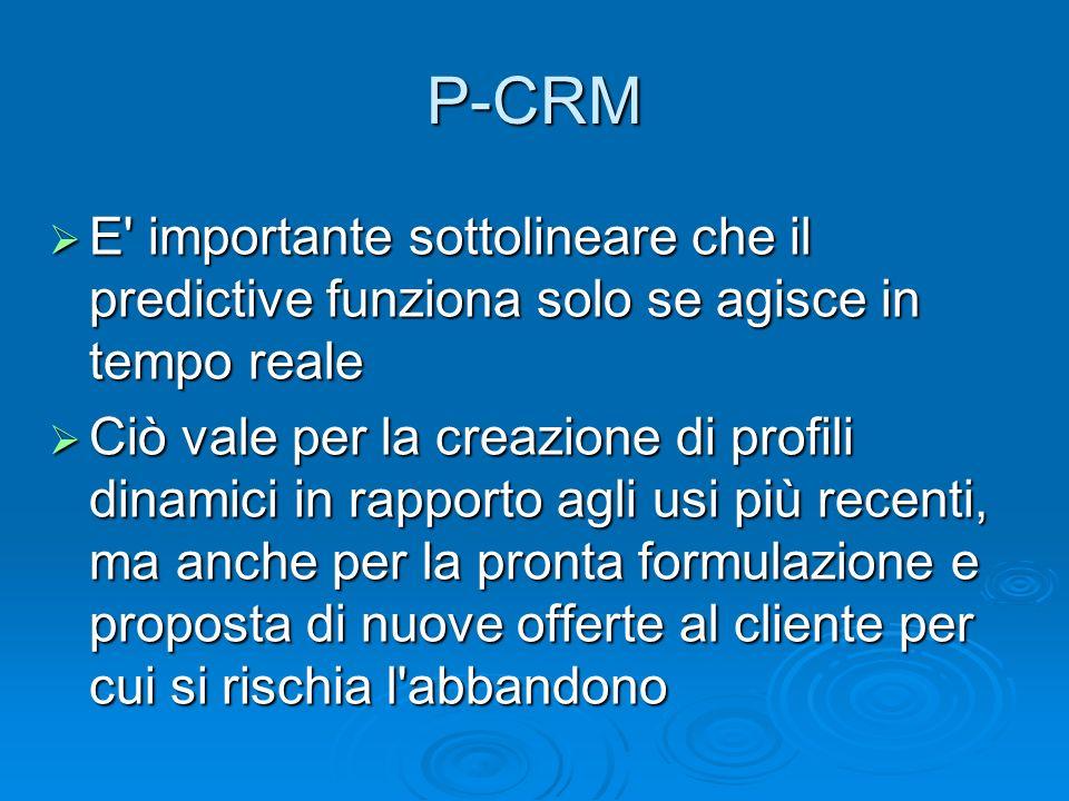 P-CRM E importante sottolineare che il predictive funziona solo se agisce in tempo reale.