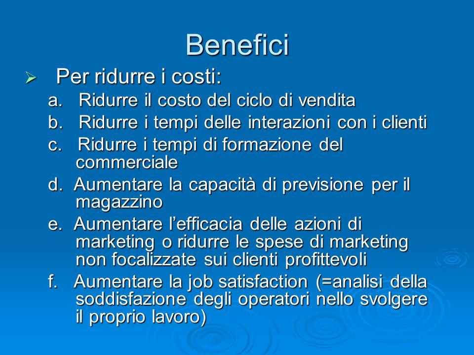 Benefici Per ridurre i costi: a. Ridurre il costo del ciclo di vendita