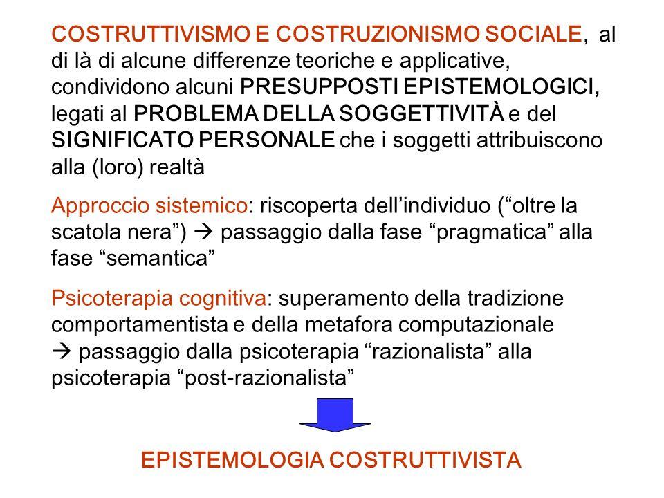 COSTRUTTIVISMO E COSTRUZIONISMO SOCIALE, al di là di alcune differenze teoriche e applicative, condividono alcuni PRESUPPOSTI EPISTEMOLOGICI, legati al PROBLEMA DELLA SOGGETTIVITÀ e del SIGNIFICATO PERSONALE che i soggetti attribuiscono alla (loro) realtà